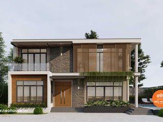 Thiết kế nhà biệt thự đẹp 2 tầng 2 mặt tiền hiện đại 15x12m tại Lào NEOHouse