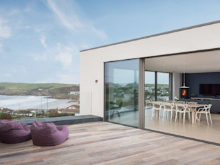 Modern New Build Eco Friendly Home in Polzeath Cornwall Arco2 Architecture Ltd Balcony