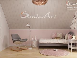 Projekt pokoju dziecięcego w nowoczesnym stylu Senkoart Design Pokój dla dziwczynki Różowy