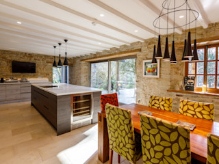 Extended and Modernised Period Farmhouse In Lanhydrock, Cornwall by ARCO2 Arco2 Architecture Ltd Country style kitchen Wood effect