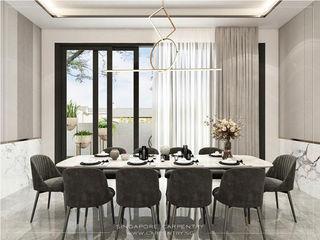 Singapore Carpentry Interior Design Pte Ltd Modern dining room Marble White