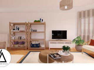 Projeto - Design de Interiores - Apartamento HS Areabranca Salas de estar ecléticas