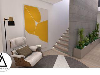 Projeto - Design de Interiores - Zona Social Moradia PI Areabranca Corredores, halls e escadas modernos