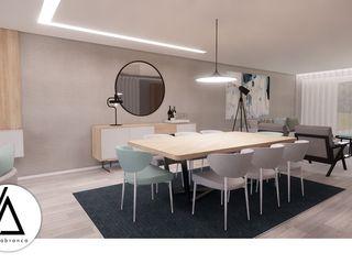 Projeto - Design de Interiores - Zona Social Moradia N Areabranca Salas de jantar modernas