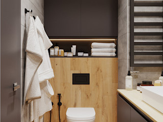 Projekt Domu Jednorodzinnego w Nowoczesnym stylu Senkoart Design Nowoczesna łazienka Drewno