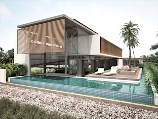 Costa Rica RRA Arquitectura Piscinas de estilo minimalista Madera Blanco