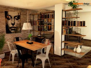 Soggiorno e cucina in stile industrial Falegnamerie Design Soggiorno in stile industriale Legno Marrone