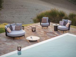Bequemes Todus Baza Round Lounge Daybed Livarea Balkon, Veranda & TerrasseMöbel Textil Grau