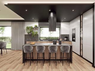 Wkwadrat Architekt Wnętrz Toruń Cocinas integrales Madera Negro