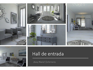 Anny Maciel Interiores - Casa Cor de Riso Minimalist corridor, hallway & stairs White