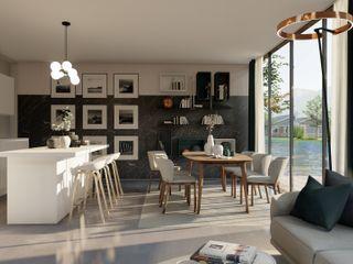 3D Visualisierungen der Planungen Livarea Moderne Esszimmer