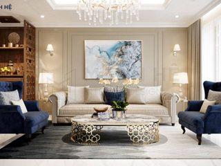 Thiết kế nội thất căn hộ Riverside Residence - 135m2 Công ty Cổ Phần Nội Thất Mạnh Hệ Living roomSofas & armchairs