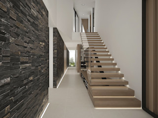 Moradia Sofisticada Maria Vilhena Interior Design Corredores, halls e escadas modernos Pedra Acabamento em madeira