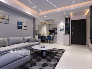 線與面、深與淺的碰撞 -- 仁山洺悅 木博士團隊/動念室內設計制作 现代客厅設計點子、靈感 & 圖片