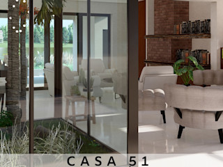 D4-Arquitectos Salones modernos Madera Blanco