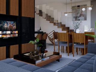Sala - Comedor a doble altura HC Arquitecto Salones modernos Madera Acabado en madera