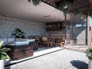 Sala, Comedor & Cocina HC Arquitecto Comedores minimalistas Concreto Blanco