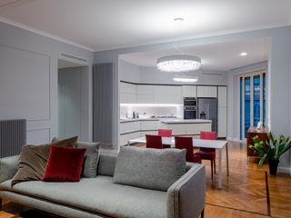 OPA Architetti クラシックデザインの リビング 木 灰色