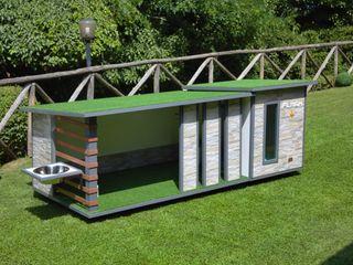 """""""Cuccia ispirata a casa"""" - Cuccia di design da esterno ispirata a casa Pet House Design® Casetta da giardino Legno Bianco"""