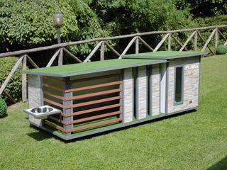 """""""Cuccia ispirata a casa"""" - Cuccia di design da esterno ispirata a casa Pet House Design® Giardino d'inverno moderno Pietra Grigio"""