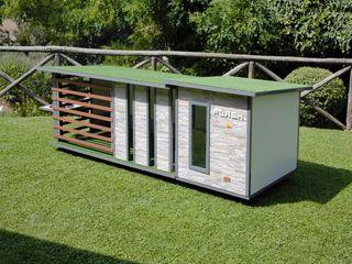 """""""Cuccia ispirata a casa"""" - Cuccia di design da esterno ispirata a casa Pet House Design® Giardino anteriore Legno Grigio"""
