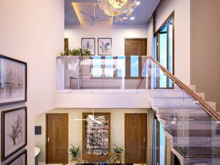 Monnaie Interiors Pvt Ltd Couloir, entrée, escaliersAccessoires & décorations Bois d'ingénierie Effet bois