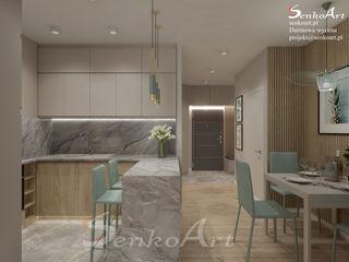 Projekt Kuchni z Salonem Senkoart Design Małe kuchnie Wielokolorowy