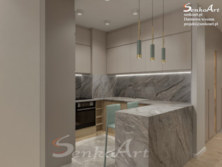 Projekt Kuchni z Salonem Senkoart Design Małe kuchnie Szary