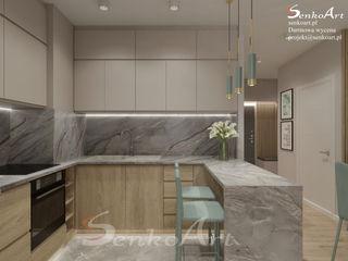 Projekt Kuchni z Salonem Senkoart Design Nowoczesna kuchnia Wielokolorowy