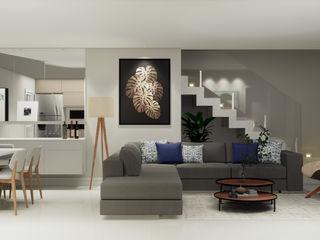 SCK Arquitetos Salones de estilo minimalista