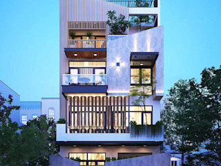 Thiết kế nhà phố độc đáo mặt tiền 8m 4 tầng hiện đại tại HCM NEOHouse