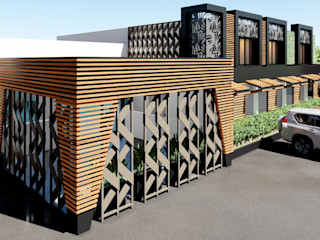 JOTARCO ARQUITECTURA Y CONSTRUCCION Jardines de invierno minimalistas Compuestos de madera y plástico Acabado en madera