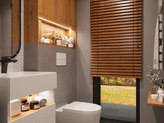 Aranżacja łazienki z wykorzystaniem elementów drewna Senkoart Design Nowoczesna łazienka Drewno Wielokolorowy
