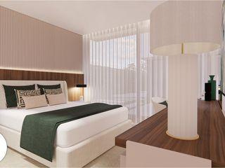 Projeto - Design de Interiores - Suite FR Areabranca Quartos modernos
