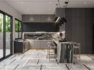 Ultra-Modern Elegance @ Jalan Kuras Singapore Carpentry Interior Design Pte Ltd Modern kitchen Marble White