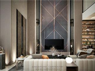 Ultra-Modern Elegance @ Jalan Kuras Singapore Carpentry Interior Design Pte Ltd Modern living room Marble Metallic/Silver