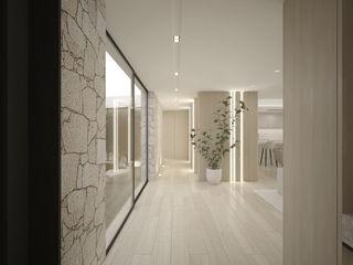 Elegante Moradia em Tons Naturais Maria Vilhena Interior Design Corredores, halls e escadas minimalistas Acabamento em madeira