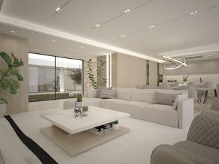 Elegante Moradia em Tons Naturais Maria Vilhena Interior Design Salas de estar modernas Bege