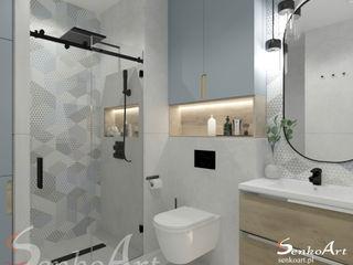 Projekt łazienki w stylu nowoczesnym Senkoart Design Nowoczesna łazienka Płytki Niebieski