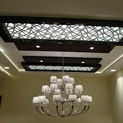 MDF grill board in double height ceiling Modern corridor, hallway & stairs by Hasta architects Modern