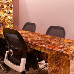Petrified Wood Conference Table With Agate Wall Panel Stonesmiths - Redefining Stoneage Office spaces & stores