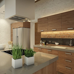 Eco Apartment in Tomsk EVGENY BELYAEV DESIGN Cocinas de estilo ecléctico
