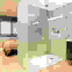 Tabiques traslúcidos en plato de ducha Baños de estilo minimalista de Empresa constructora en Madrid Minimalista