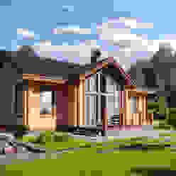 Благоустройство и ландшафтный дизайн на визуализациях частных домов Аrchirost Сад в стиле модерн