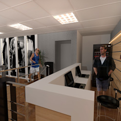 Academia Companhia do Corpo Fitness moderno por Konverto Interiores + Arquitetura Moderno