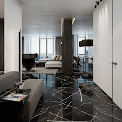 Couloir, entrée, escaliers minimalistes par Diff.Studio Minimaliste
