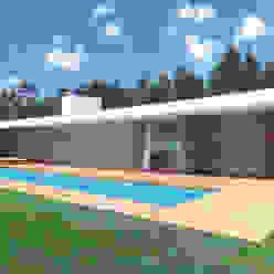 Vista da casa e piscina A.As, Arquitectos Associados, Lda Casas modernas