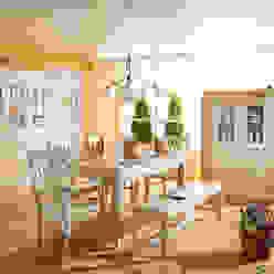 Esszimmer komplett Landhausstil Lara Holz Massiv Weiß Gewischt von Möbel wohnbar Landhaus Holz Holznachbildung