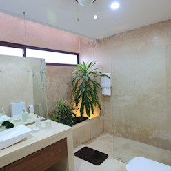 Casa Mo FGO Arquitectura Baños tropicales Fibra natural Beige