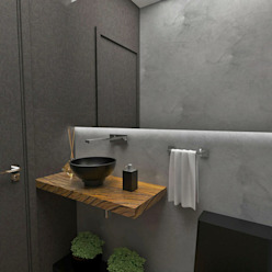 Lavabo Atelier Par Deux Banheiros ecléticos Madeira Cinza